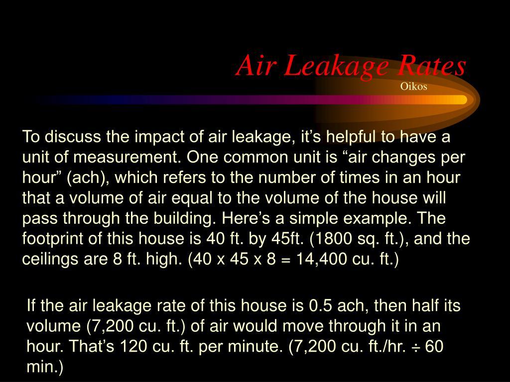Air Leakage Rates