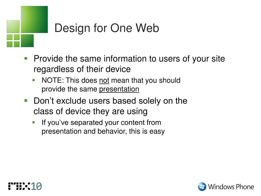 Design for One Web