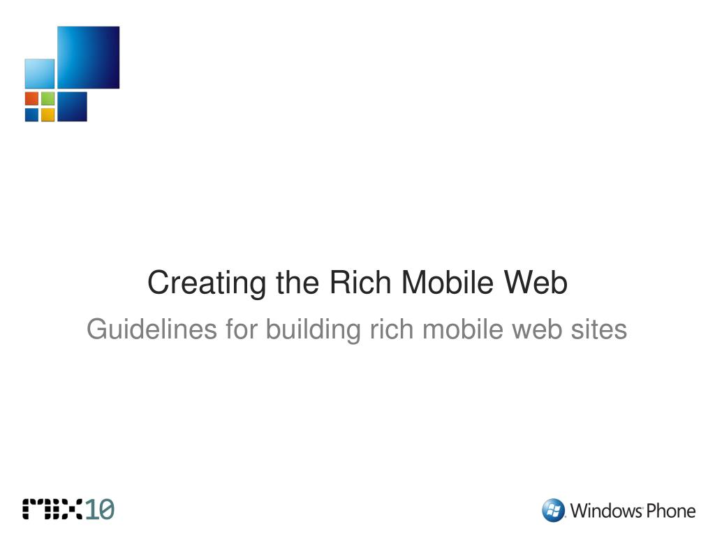 Guidelines for building rich mobile web sites