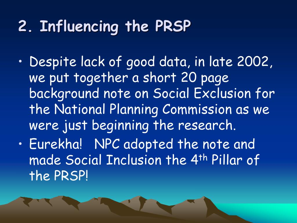 2. Influencing the PRSP