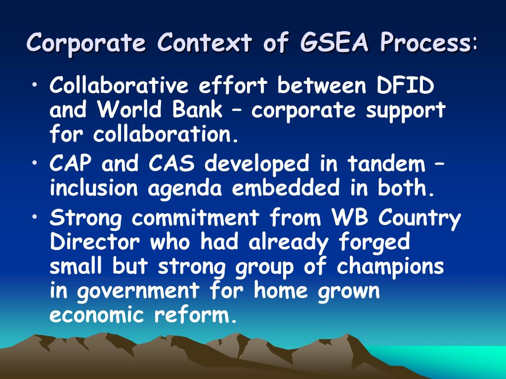 Corporate Context of GSEA Process