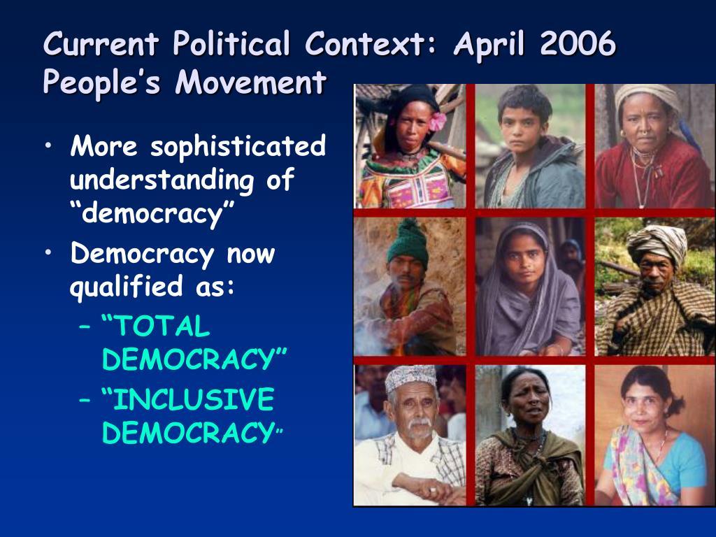 Current Political Context: April 2006 People's Movement