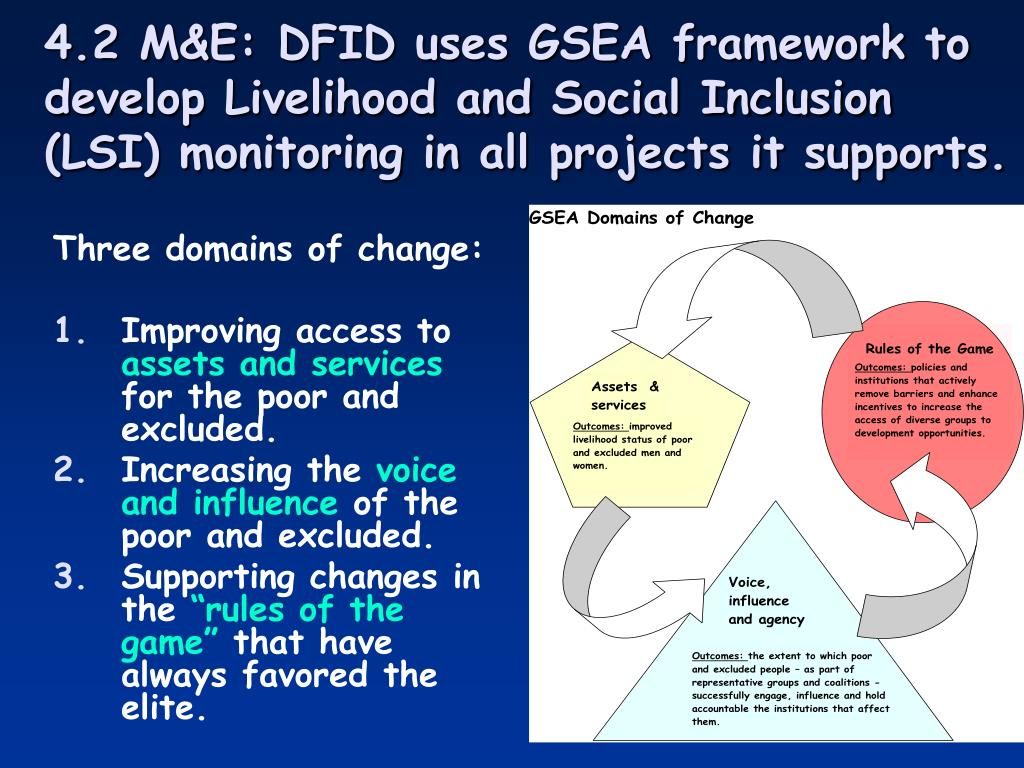 4.2 M&E: DFID uses GSEA framework to develop Livelihood and Social Inclusion (LSI) monitoring in all projects it supports.