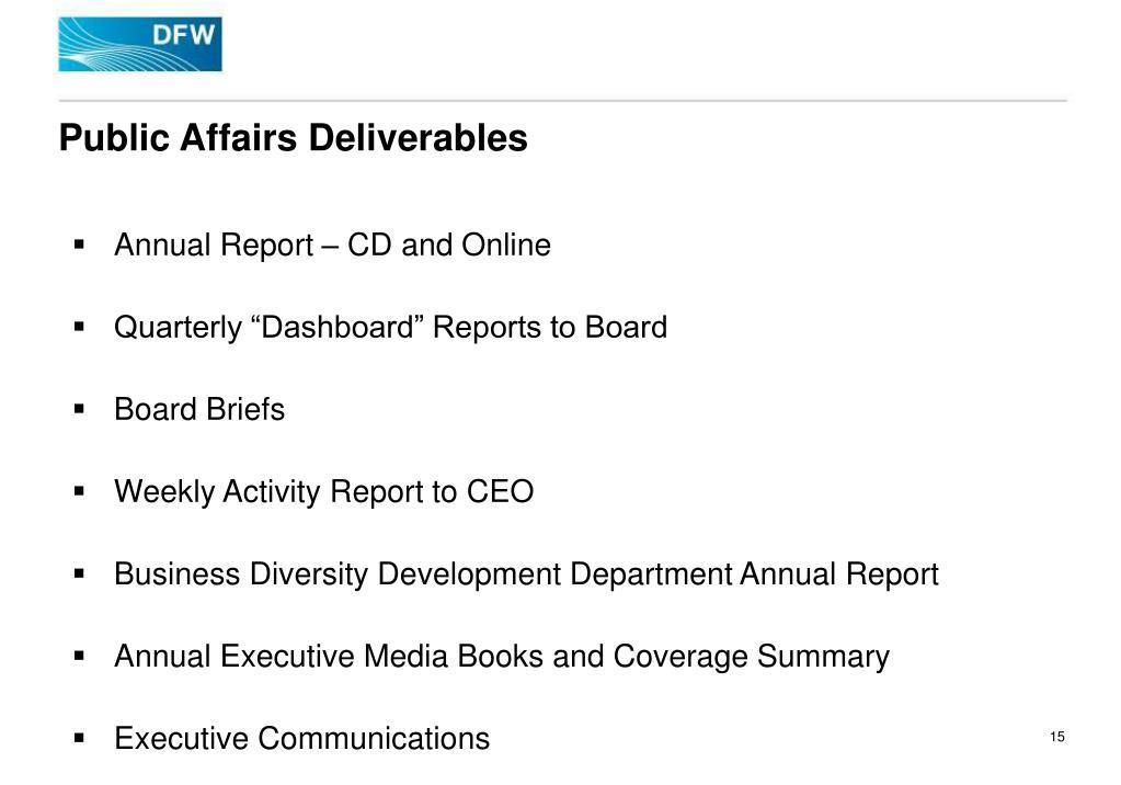 Public Affairs Deliverables