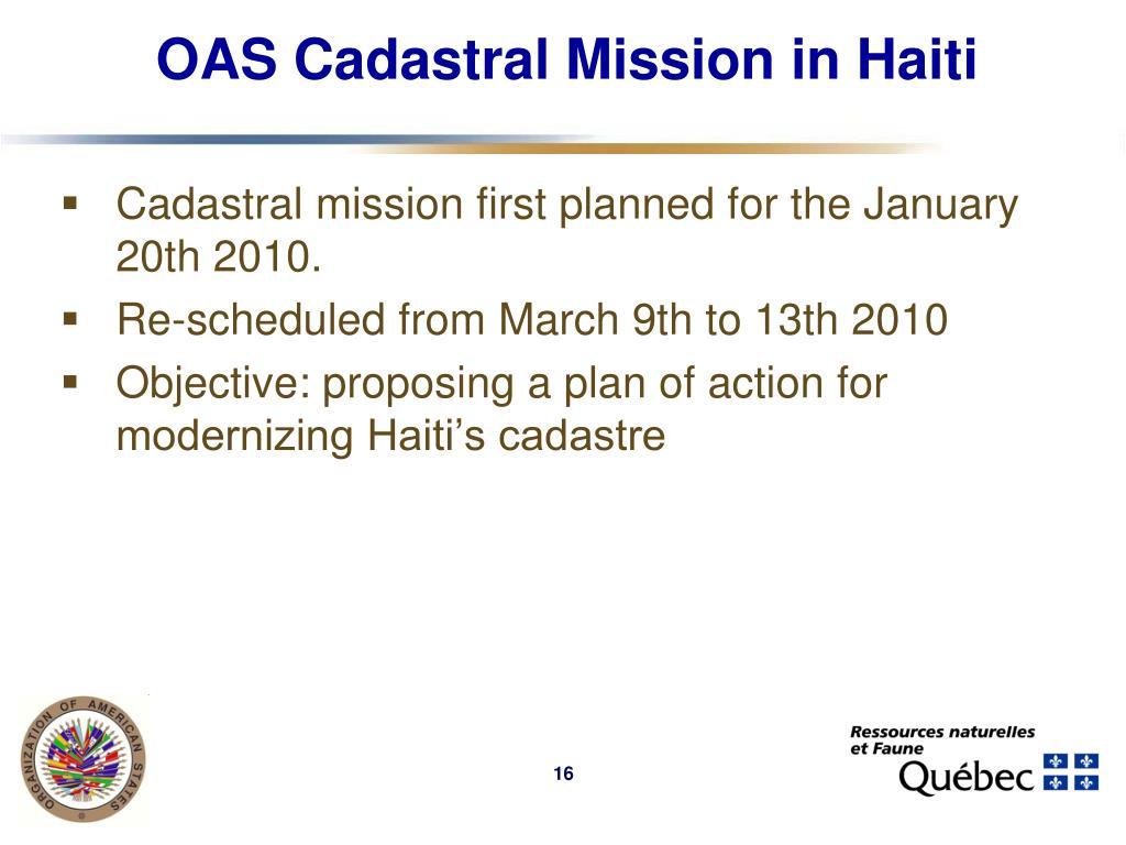 OAS Cadastral Mission in Haiti