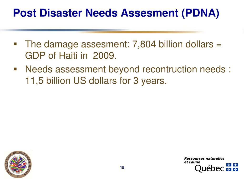Post Disaster Needs Assesment (PDNA)
