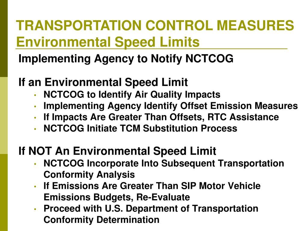TRANSPORTATION CONTROL MEASURES