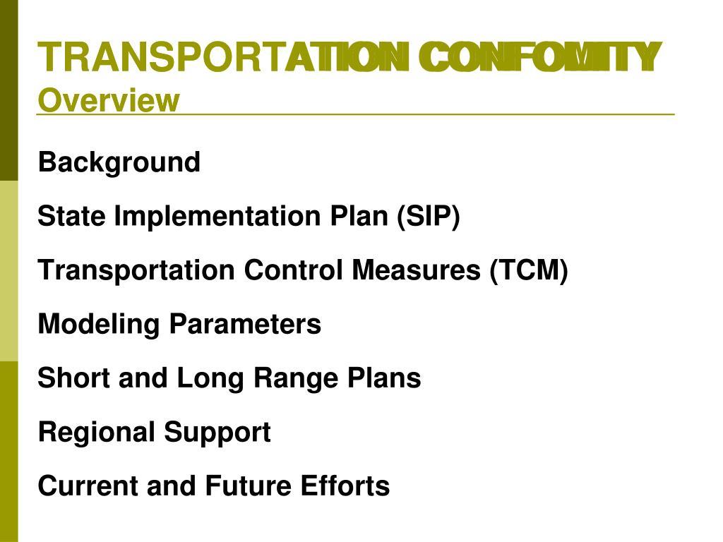 TRANSPORTATION CONFOMITY