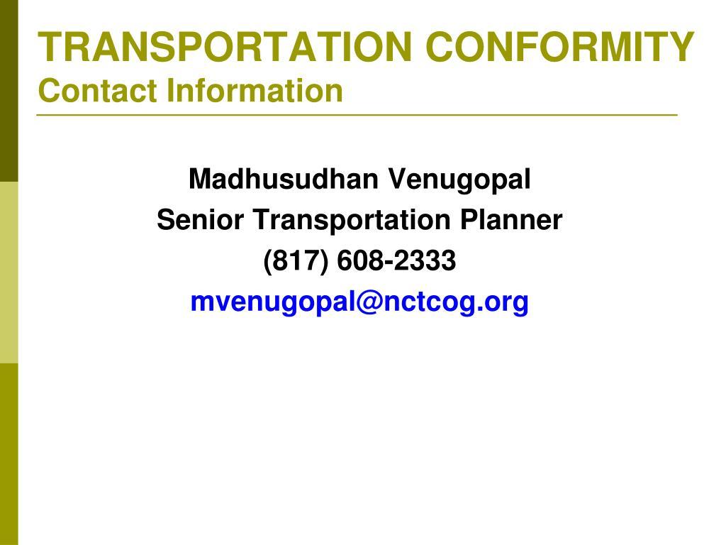 TRANSPORTATION CONFORMITY