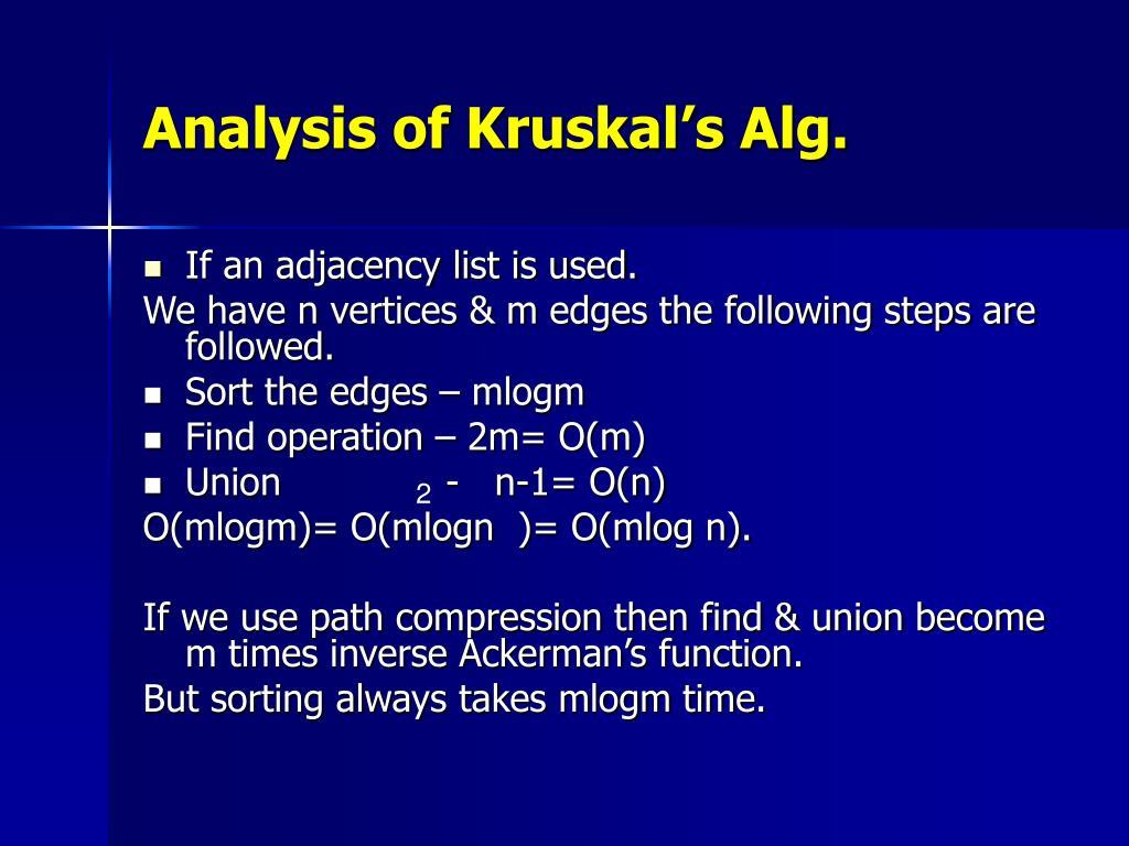 Analysis of Kruskal's Alg.