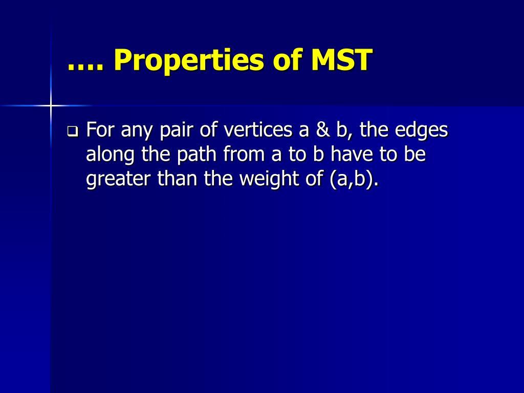 …. Properties of MST
