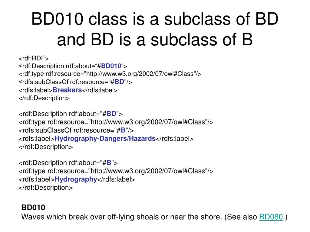 BD010 class is a subclass of BD and BD is a subclass of B