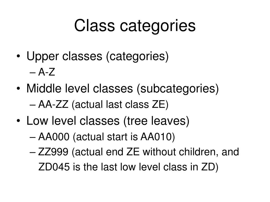 Class categories