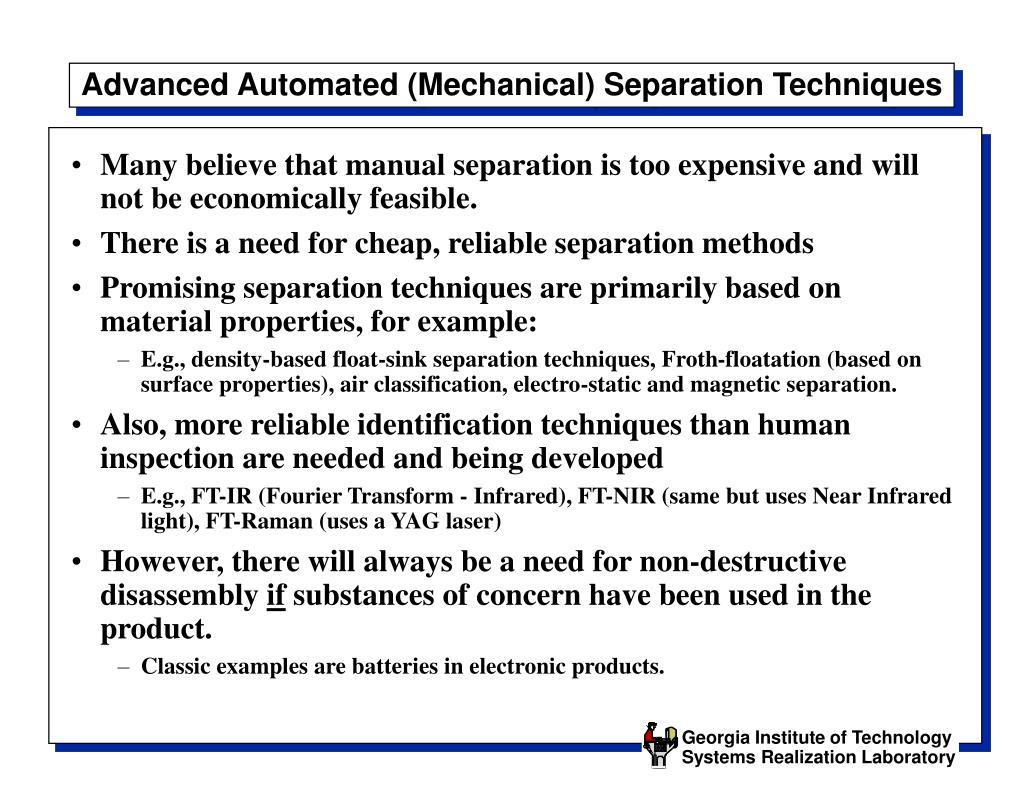 Advanced Automated (Mechanical) Separation Techniques