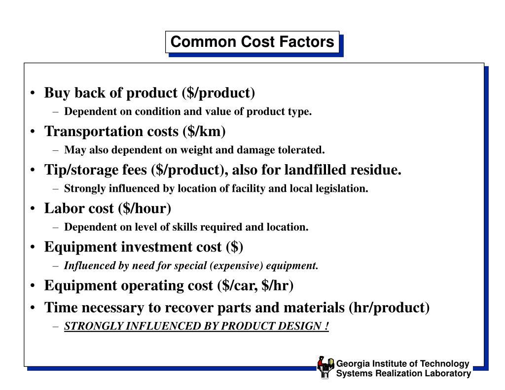 Common Cost Factors