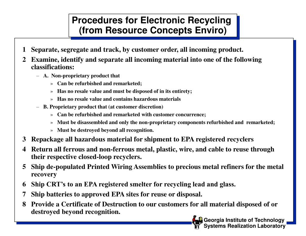 Procedures for Electronic Recycling