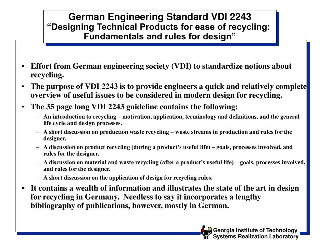 German Engineering Standard VDI 2243