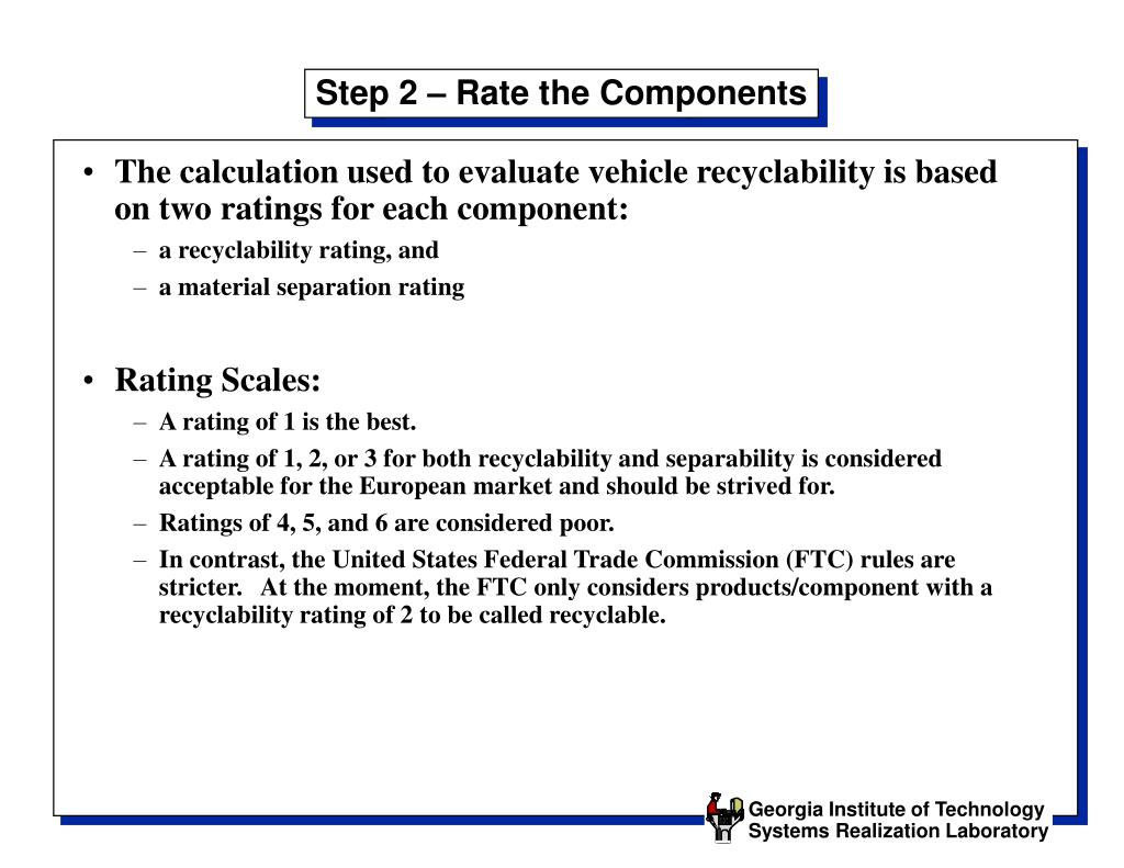 Step 2 – Rate the Components