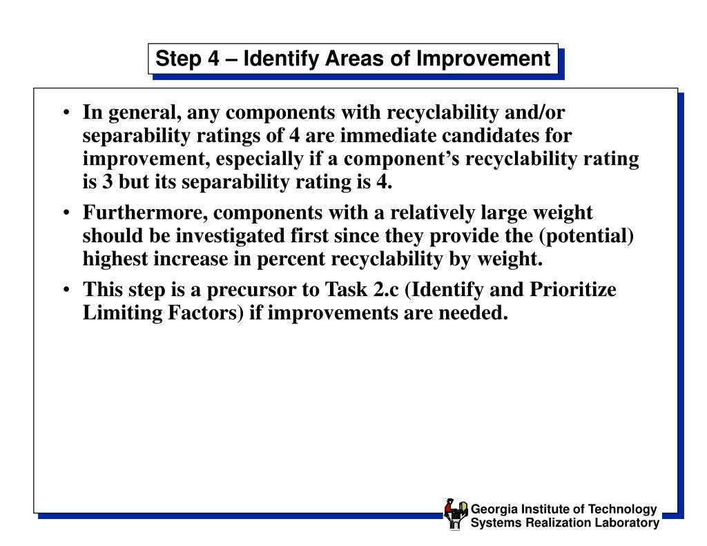 Step 4 – Identify Areas of Improvement