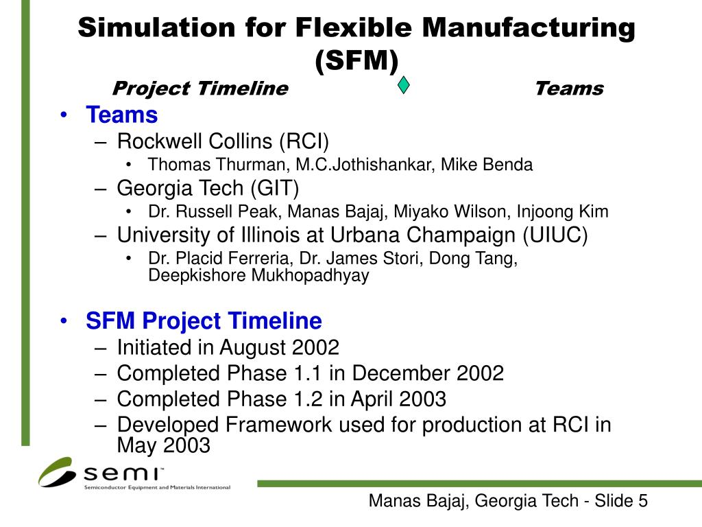 Simulation for Flexible Manufacturing (SFM)