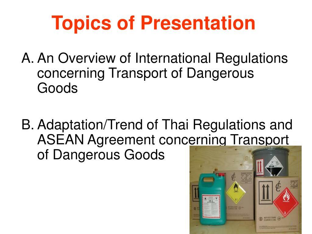 Topics of Presentation