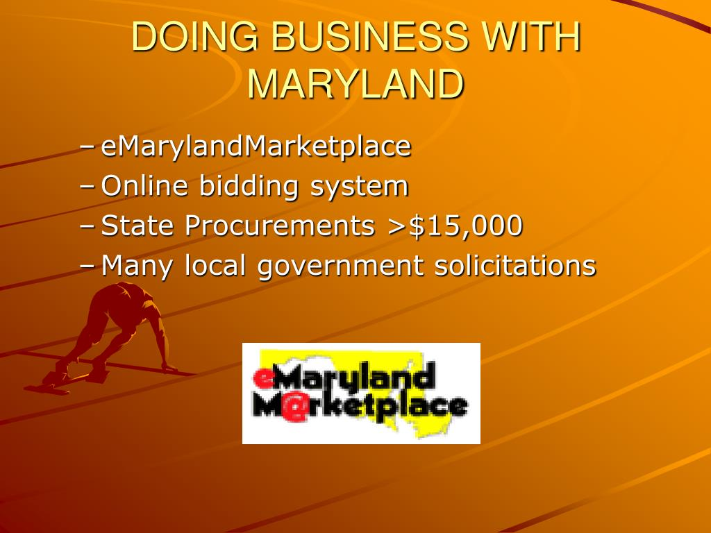 DOING BUSINESS WITH MARYLAND