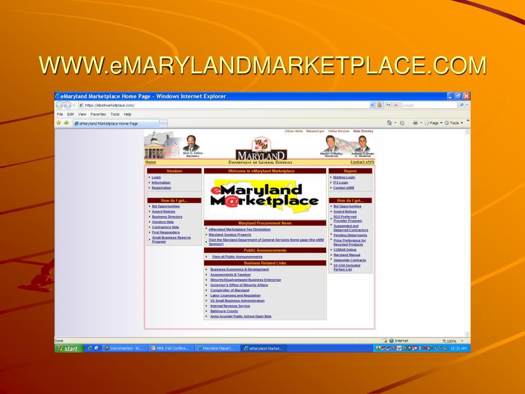 WWW.eMARYLANDMARKETPLACE.COM