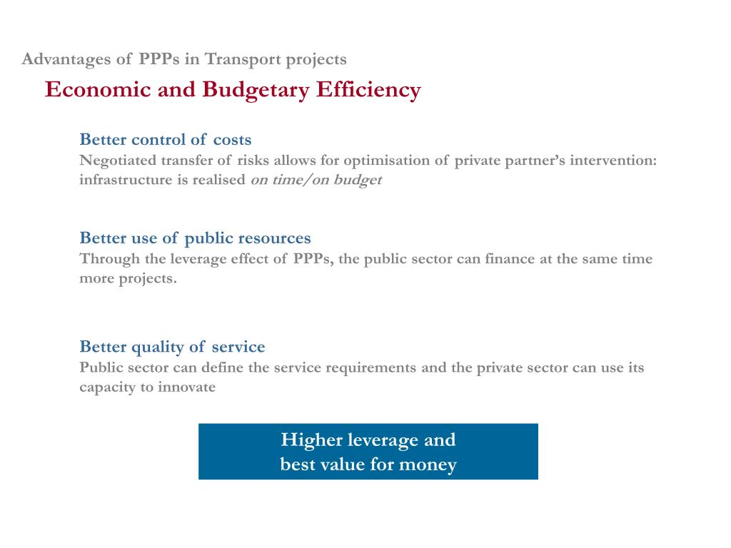 Advantages of PPPs in Transport projects