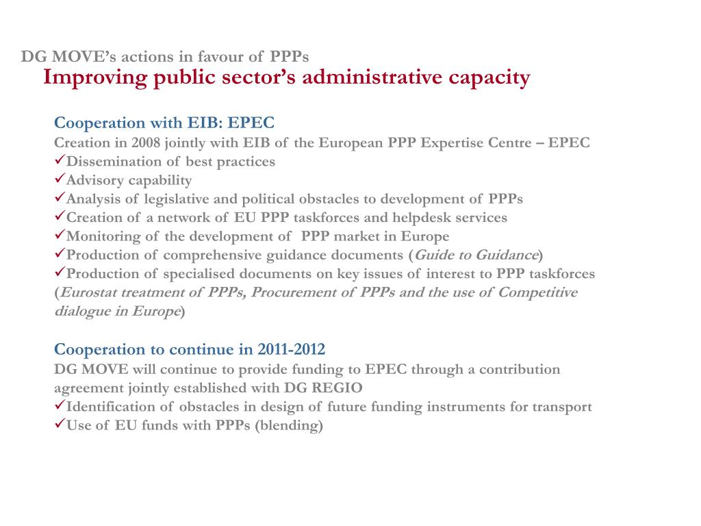 DG MOVE's actions in favour of PPPs