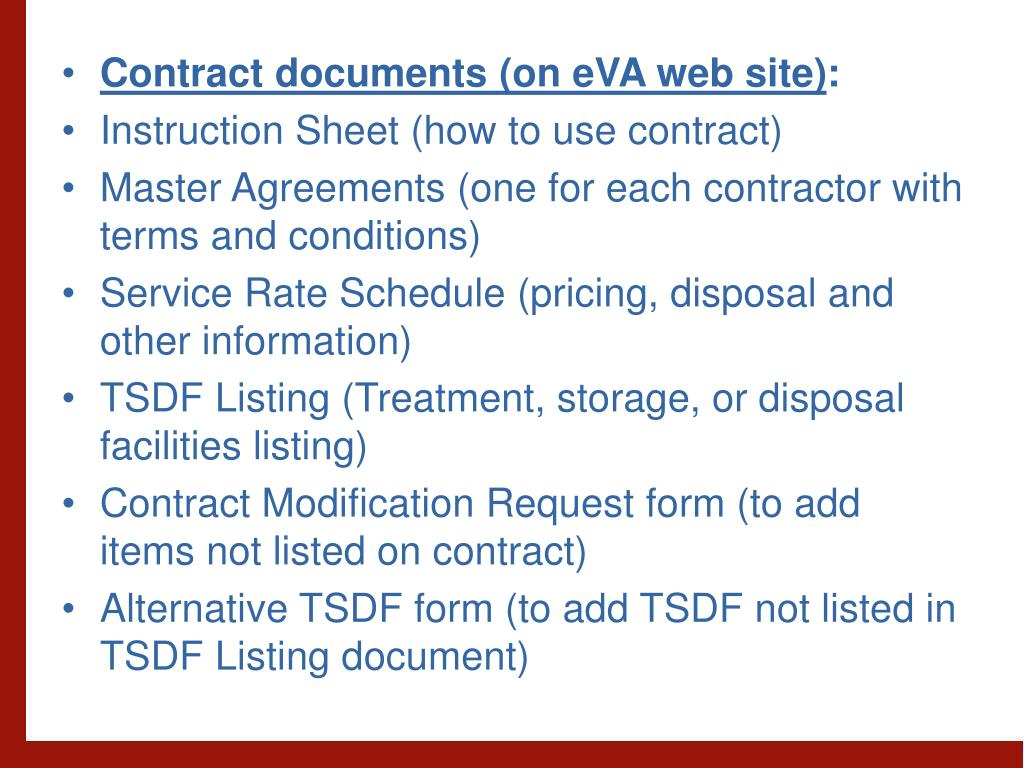Contract documents (on eVA web site)
