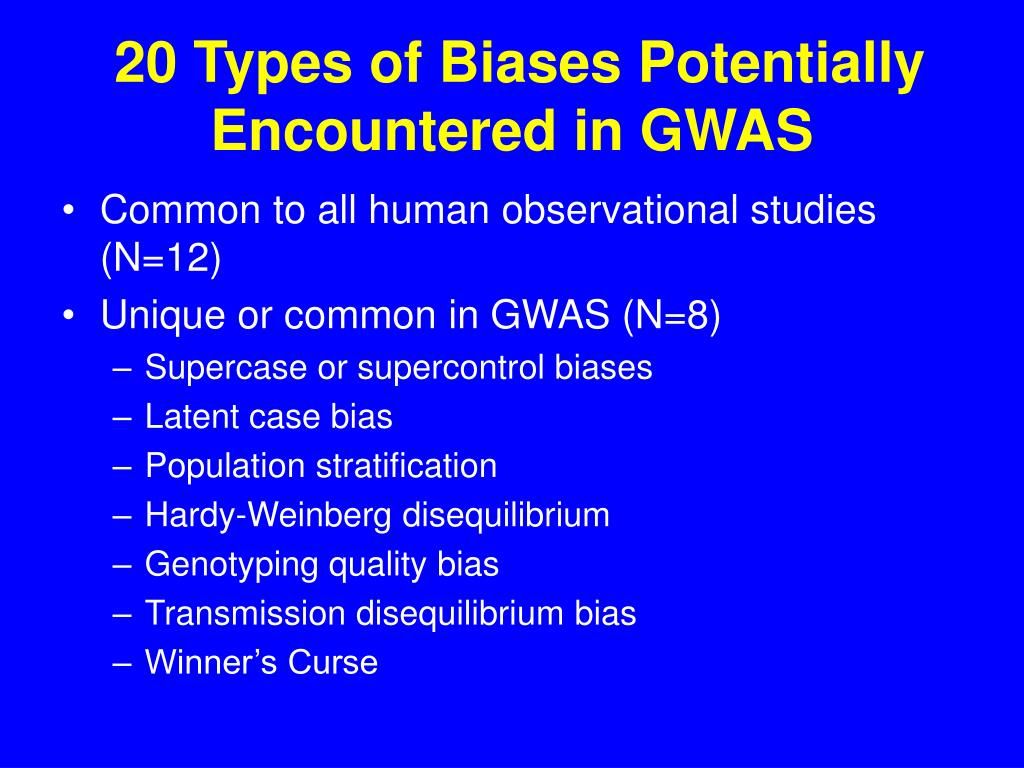 20 Types of Biases Potentially Encountered in GWAS