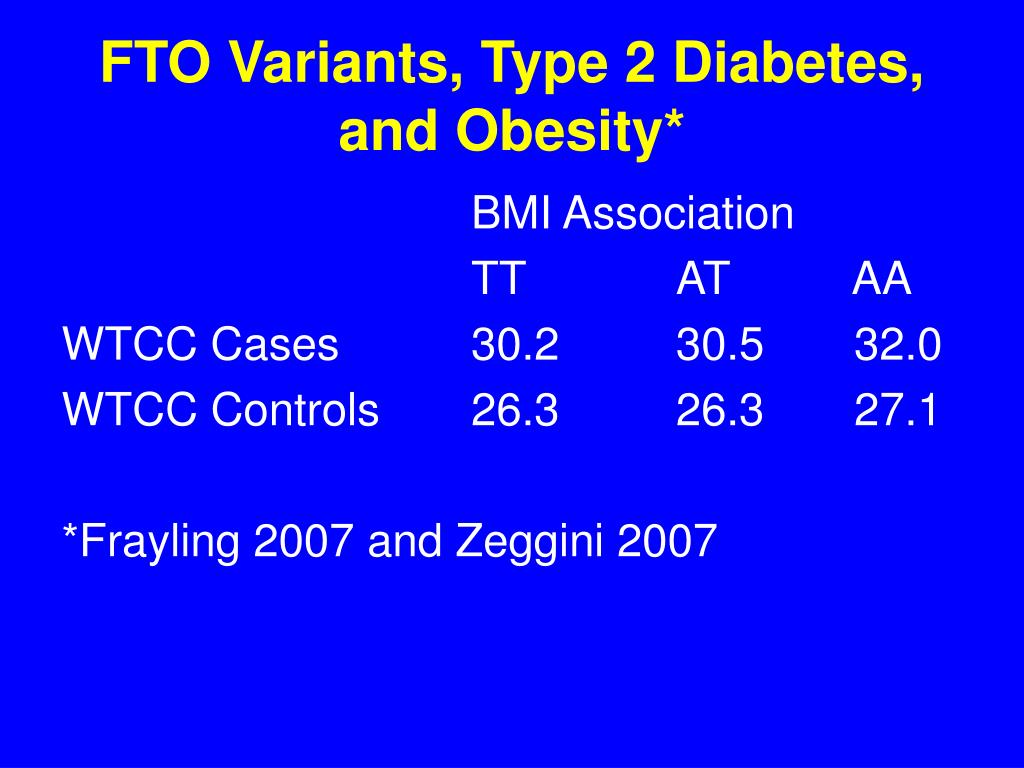 FTO Variants, Type 2 Diabetes, and Obesity*