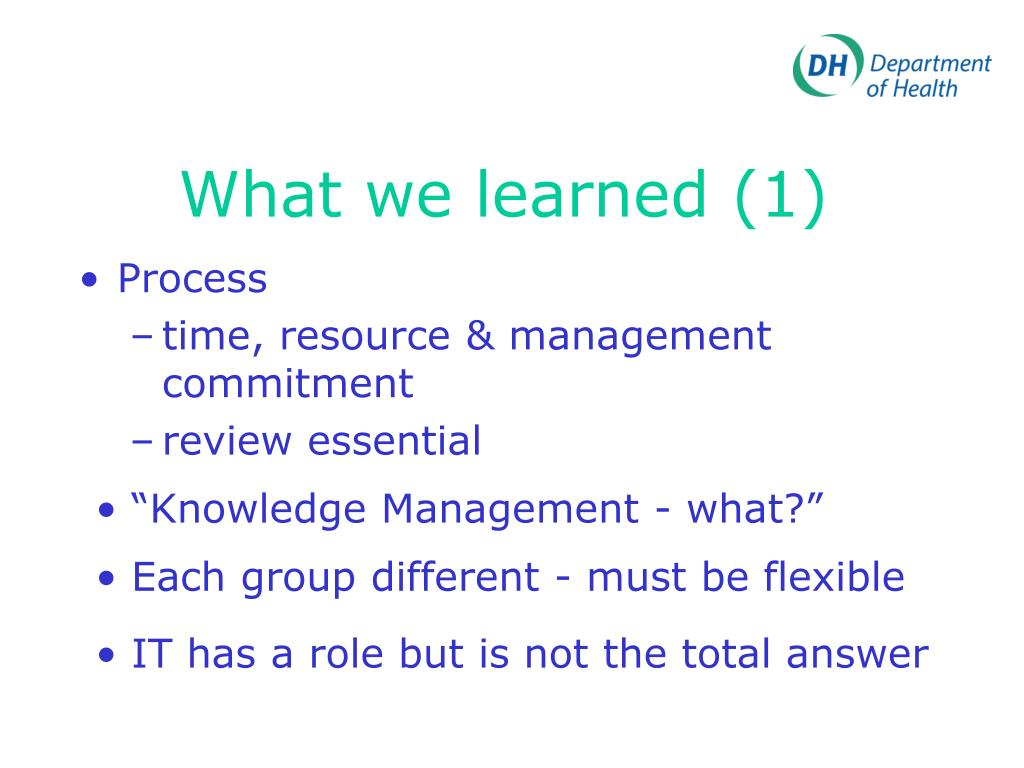 What we learned (1)
