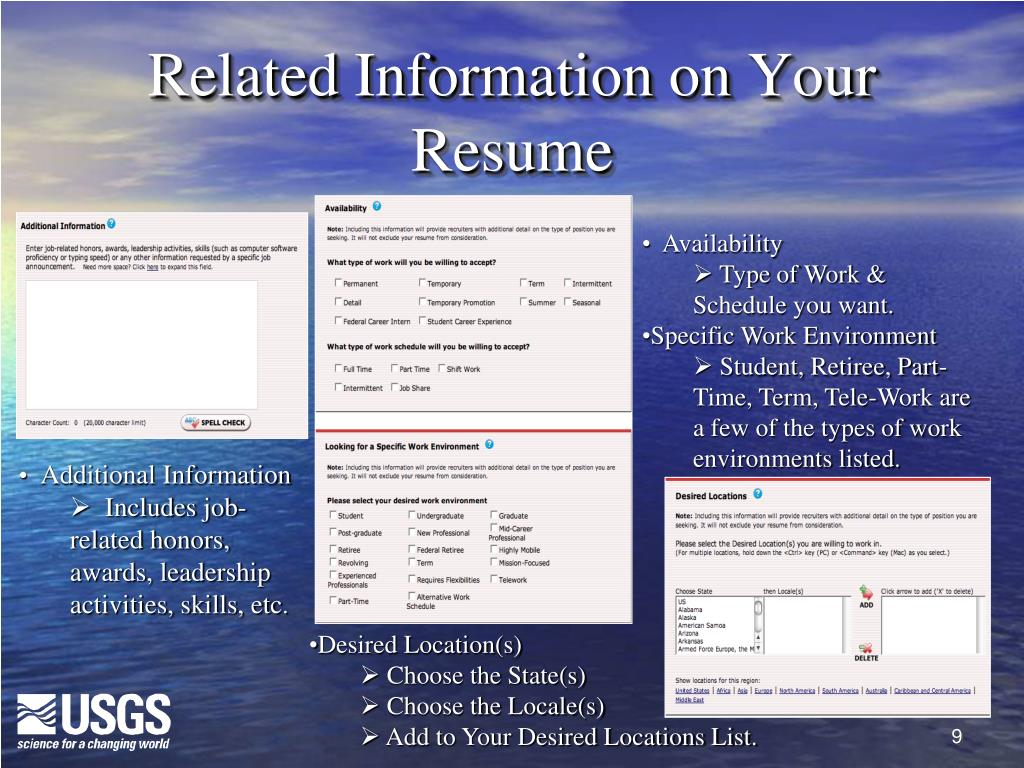 Related Information on Your Resume