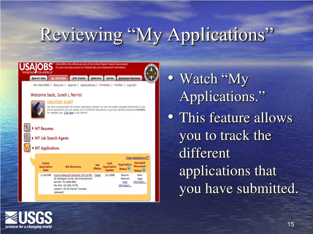 """Reviewing """"My Applications"""""""