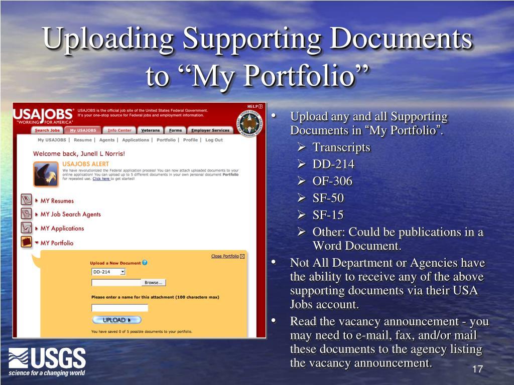 "Uploading Supporting Documents to ""My Portfolio"""