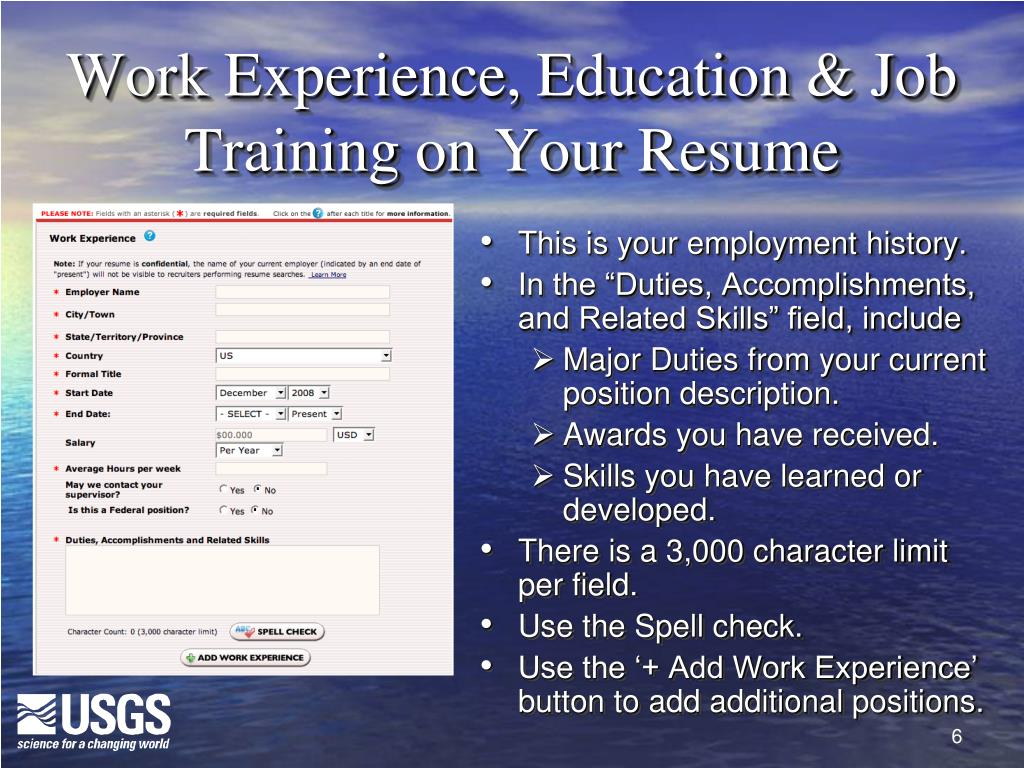 Work Experience, Education & Job Training on Your Resume