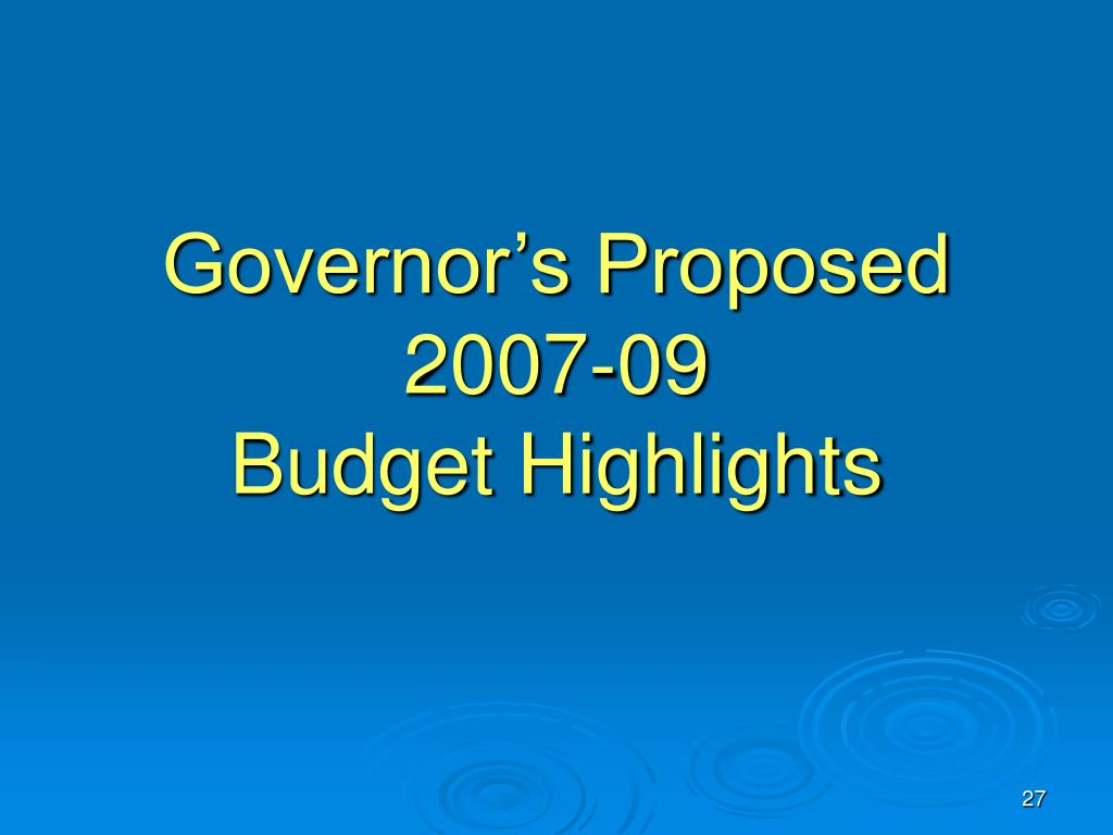 Governor's Proposed