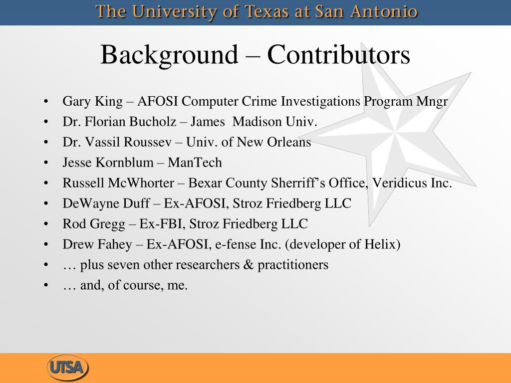Background – Contributors