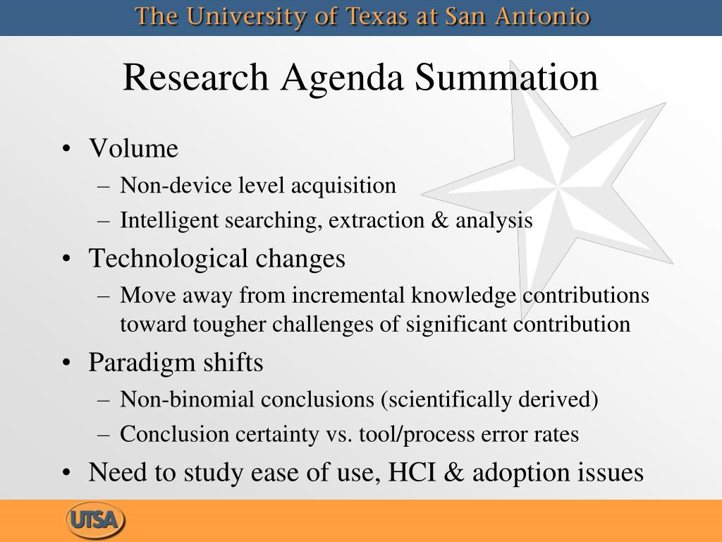 Research Agenda Summation