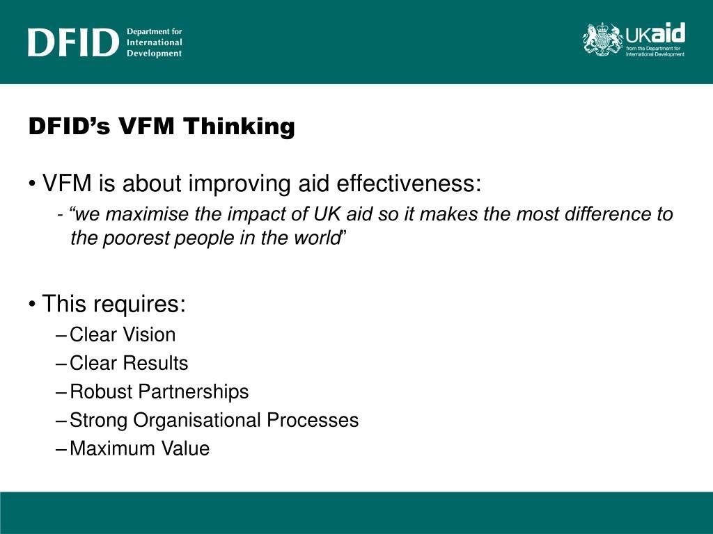 DFID's VFM Thinking