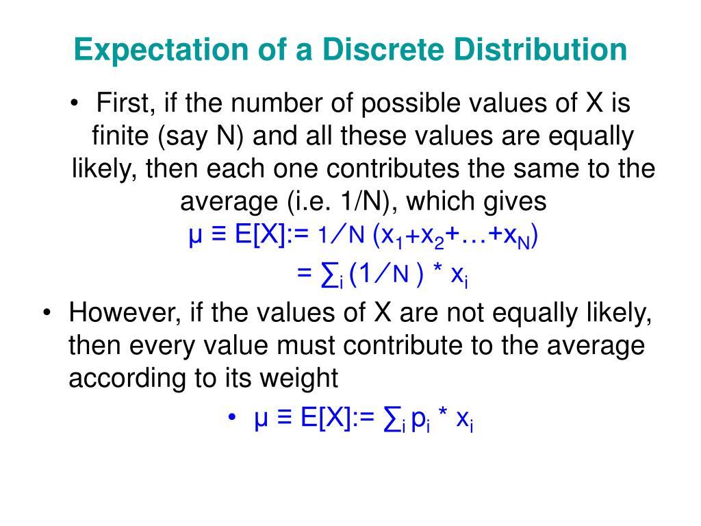 Expectation of a Discrete Distribution