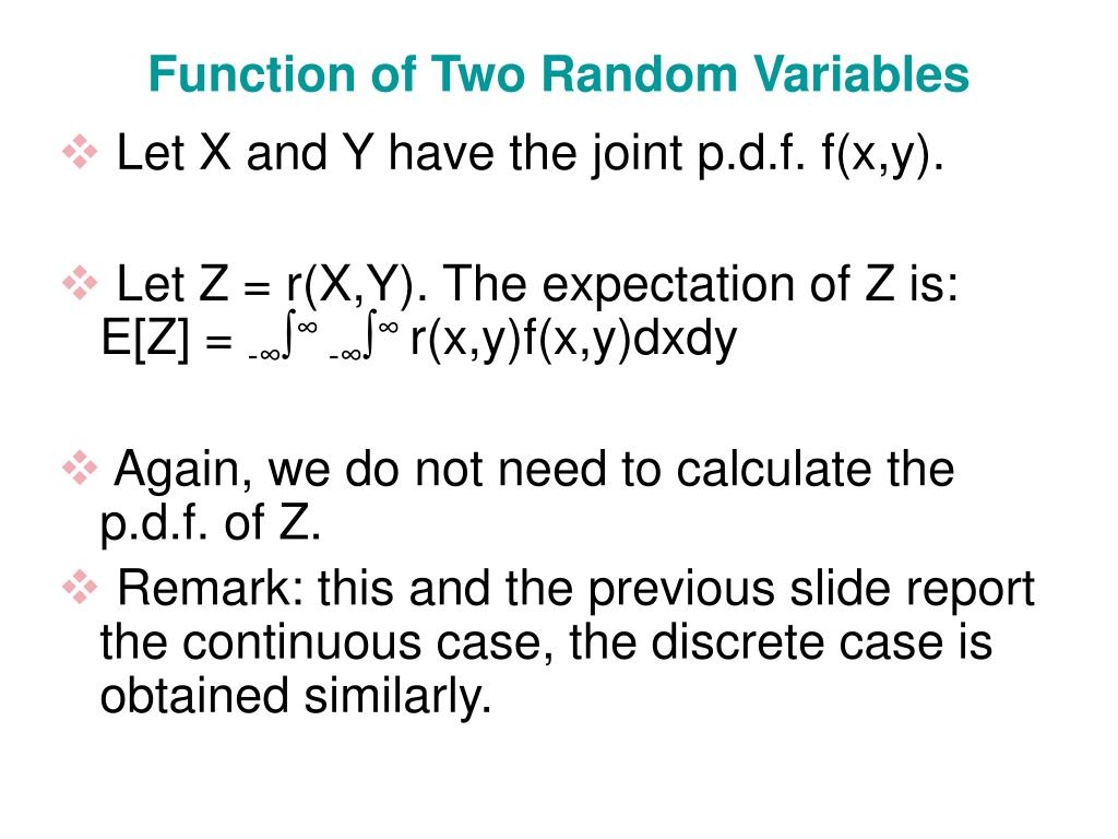 Function of Two Random Variables