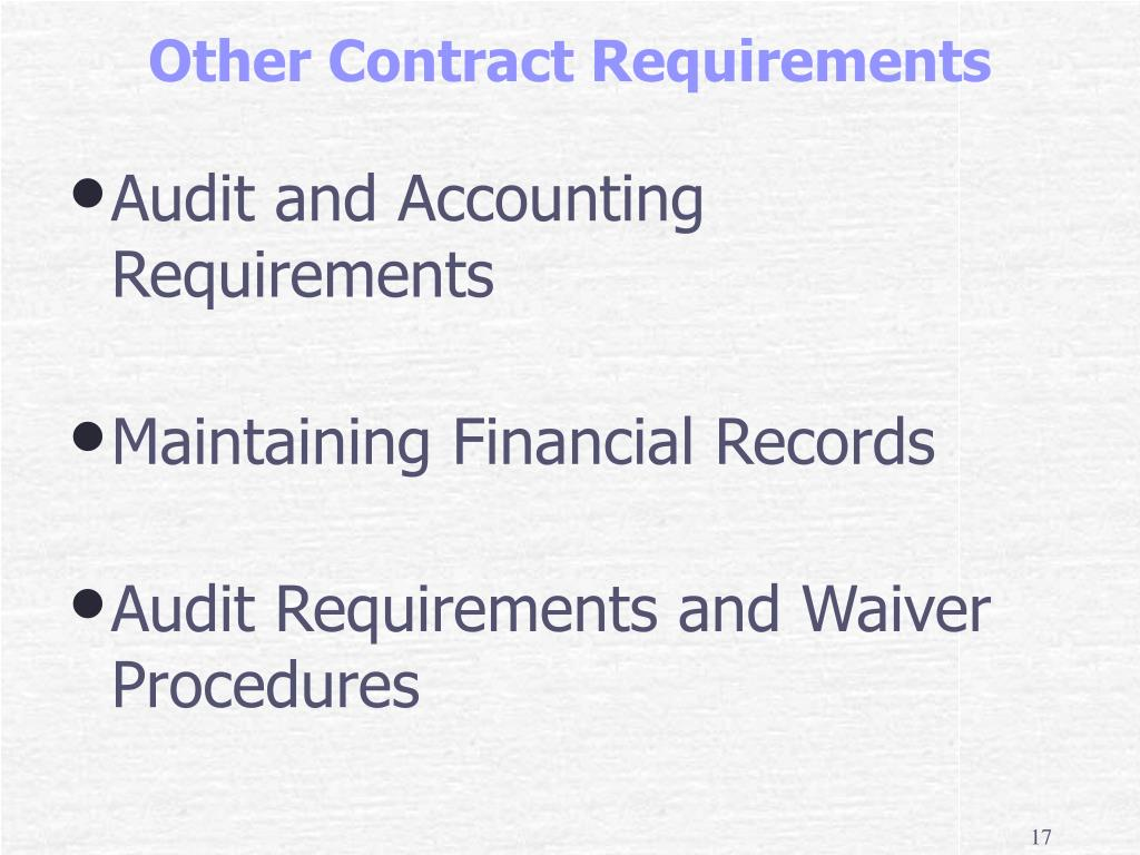 Audit and Accounting Requirements