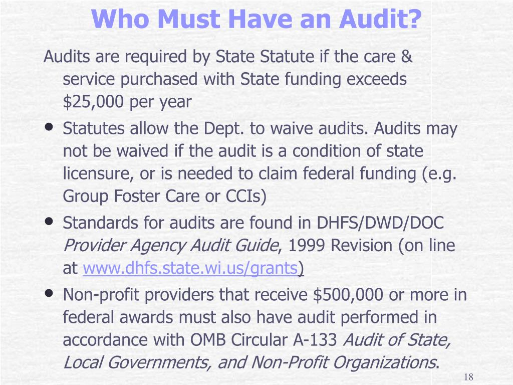 Audits are required by State Statute if the care & service purchased with State funding exceeds $25,000 per year