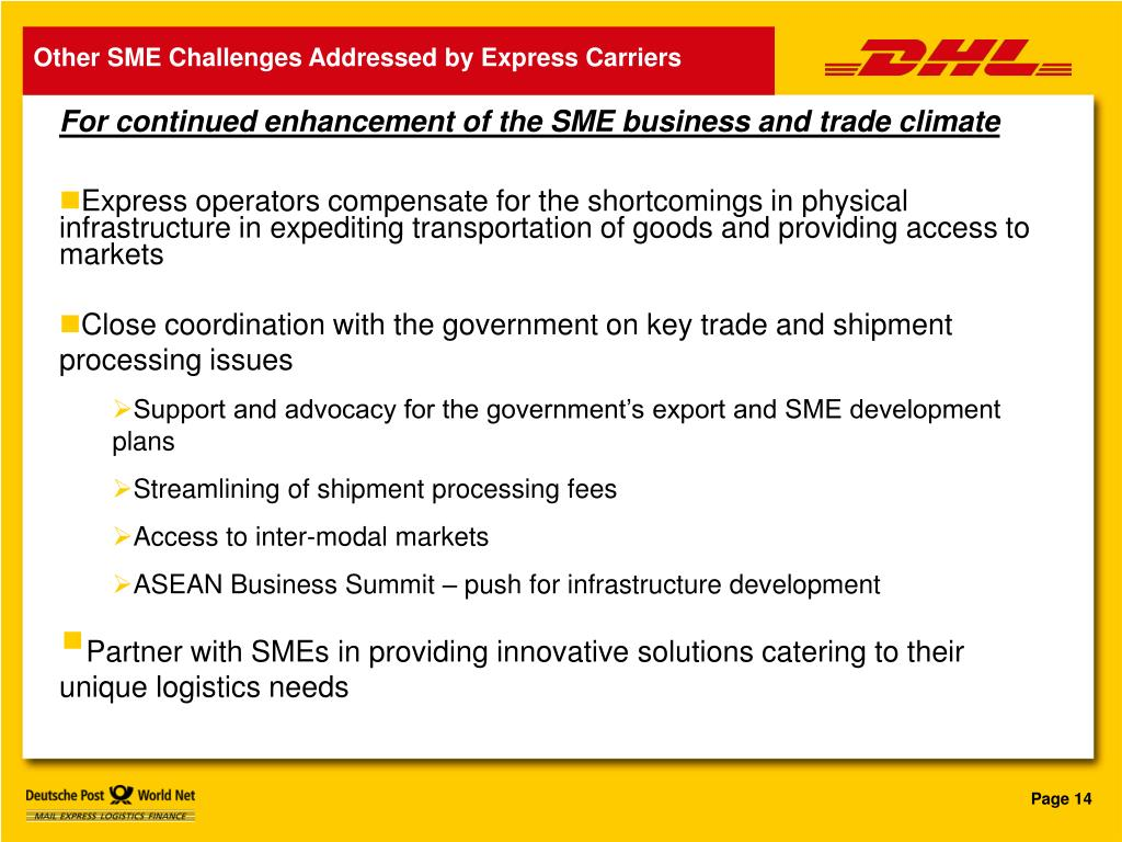 Other SME Challenges Addressed by Express Carriers