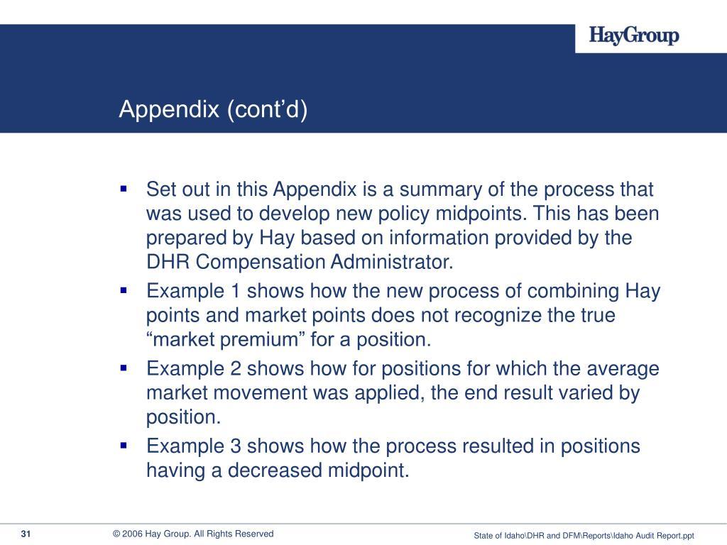 Appendix (cont'd)