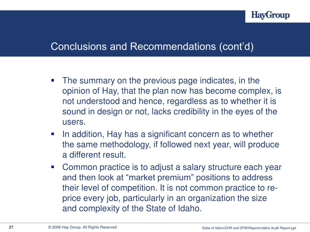 Conclusions and Recommendations (cont'd)