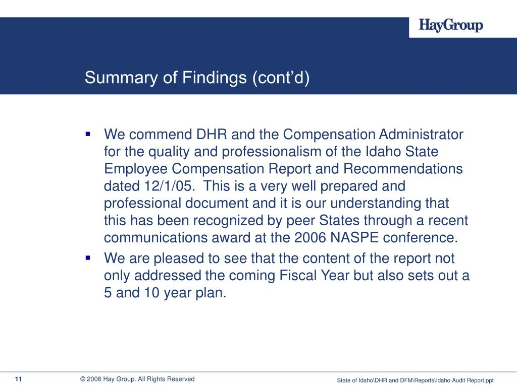 Summary of Findings (cont'd)