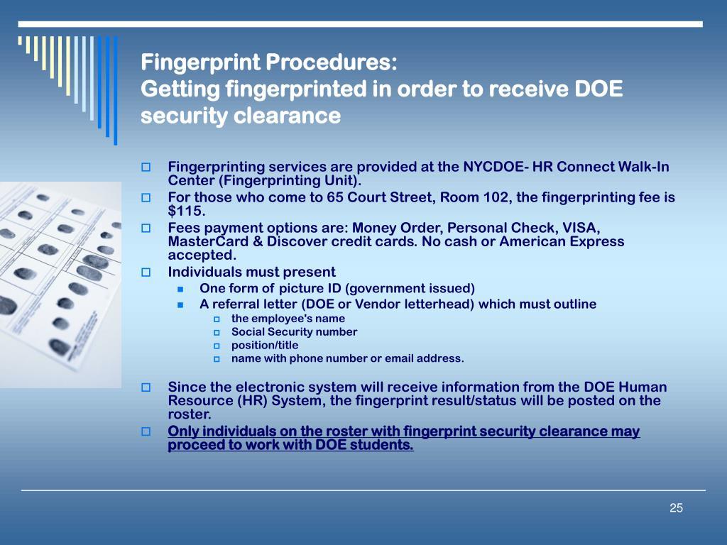 Fingerprint Procedures: